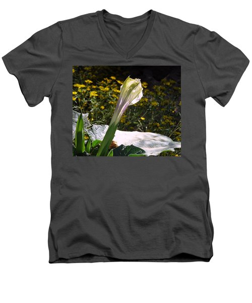 Men's V-Neck T-Shirt featuring the photograph Awakening - Sacred Datura by Judy Kennedy