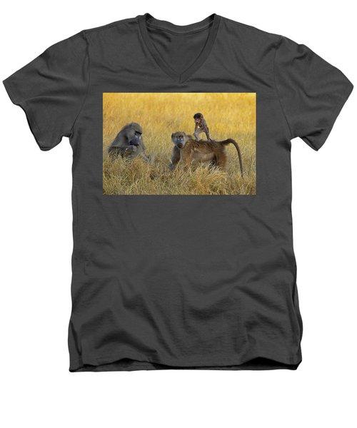 Baboons In Botswana Men's V-Neck T-Shirt