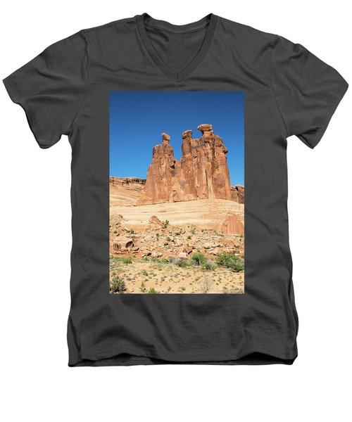 Balanced Rocks In Arches Men's V-Neck T-Shirt