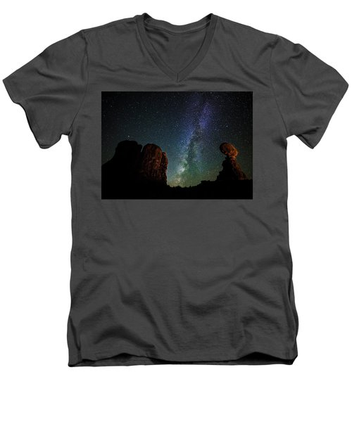 Men's V-Neck T-Shirt featuring the photograph Balancing Act by Andy Crawford