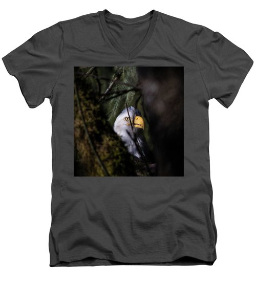 Bald Eagle Behind Tree Men's V-Neck T-Shirt