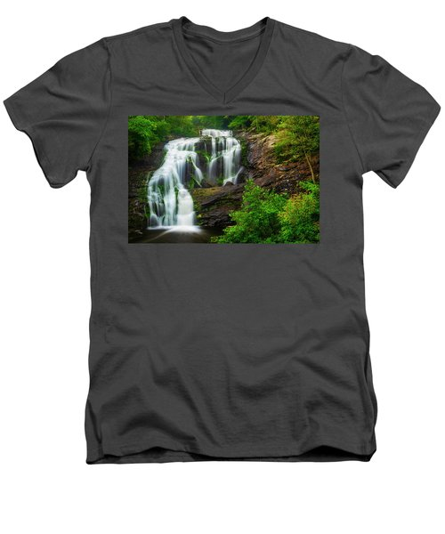 Men's V-Neck T-Shirt featuring the photograph Bald River Falls by Andy Crawford