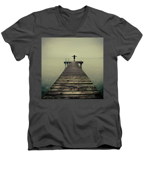 Ballerina Pose At Idyllic Lake At Winter Men's V-Neck T-Shirt
