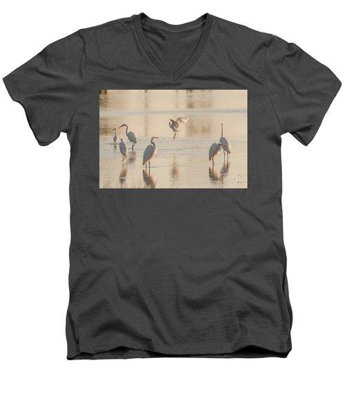 Ballet Of The Egrets Men's V-Neck T-Shirt