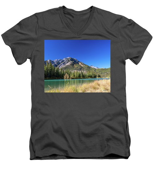 Men's V-Neck T-Shirt featuring the photograph Banff Along The Bow by Tim Kathka