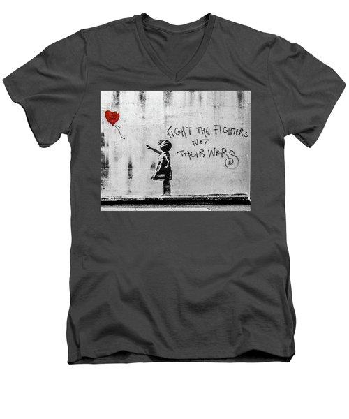 Banksy Balloon Girl Fight The Fighters Men's V-Neck T-Shirt