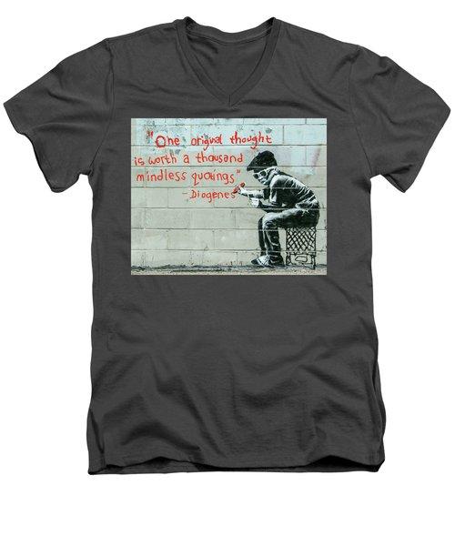 Banksy Diogenes Men's V-Neck T-Shirt