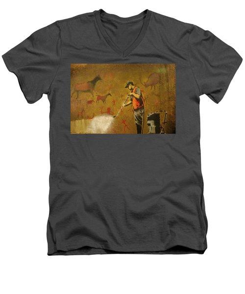 Banksy's Cave Painting Cleaner Men's V-Neck T-Shirt