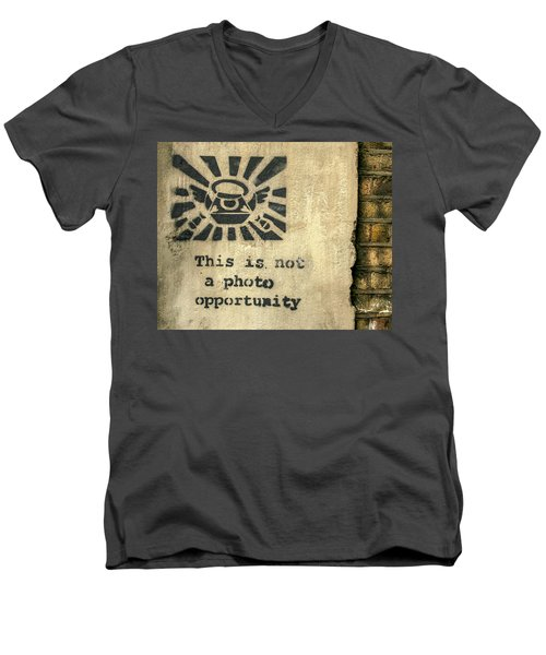 Banksy's This Is Not A Photo Opportunity Men's V-Neck T-Shirt
