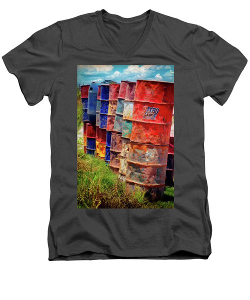 Men's V-Neck T-Shirt featuring the photograph Barrels At The Harbor - Pucallpa Peru by Rick Veldman