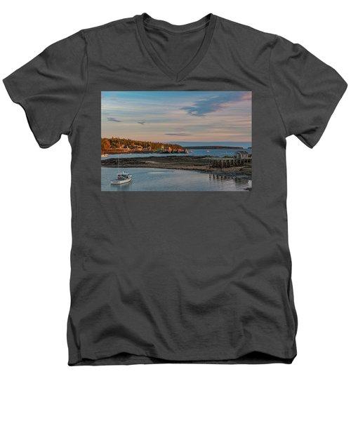 Bass Harbor Sunset Men's V-Neck T-Shirt