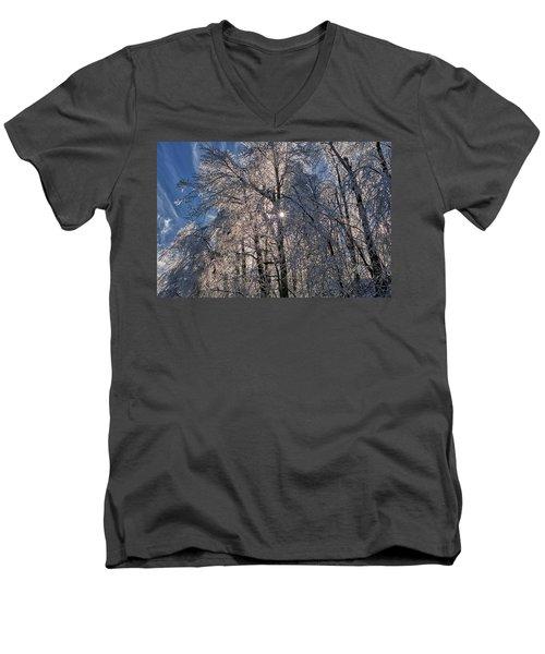 Bass Lake Trees Frozen Men's V-Neck T-Shirt