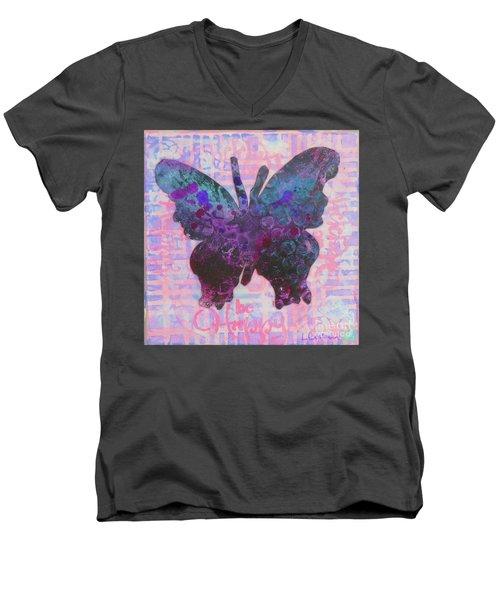 Be Happy Butterfly Men's V-Neck T-Shirt