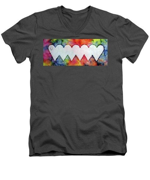 Be Still My Beaded Hearts Men's V-Neck T-Shirt