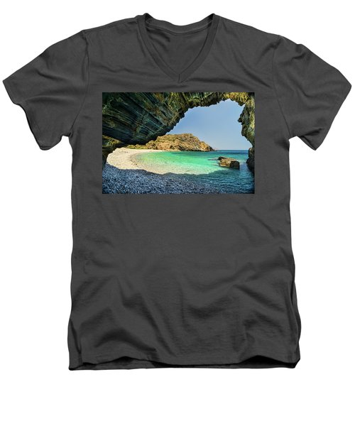 Almiro Beach With Cave Men's V-Neck T-Shirt