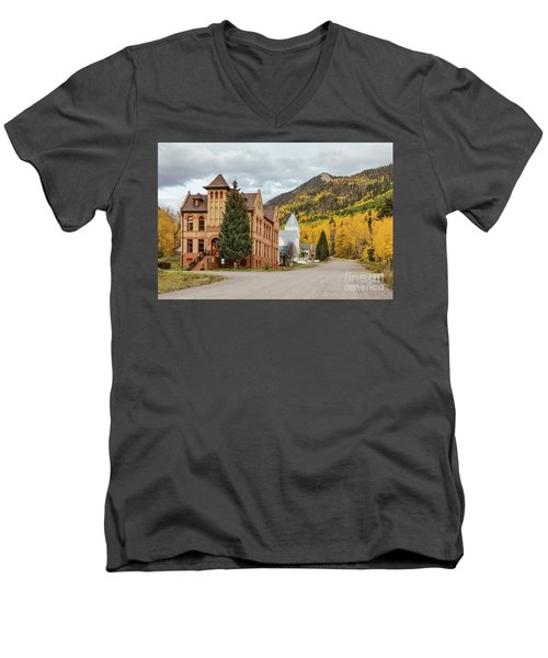 Men's V-Neck T-Shirt featuring the photograph Beautiful Small Town Rico Colorado by James BO Insogna