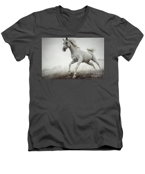 Men's V-Neck T-Shirt featuring the photograph Beautiful White Horse Running In Mist by Dimitar Hristov