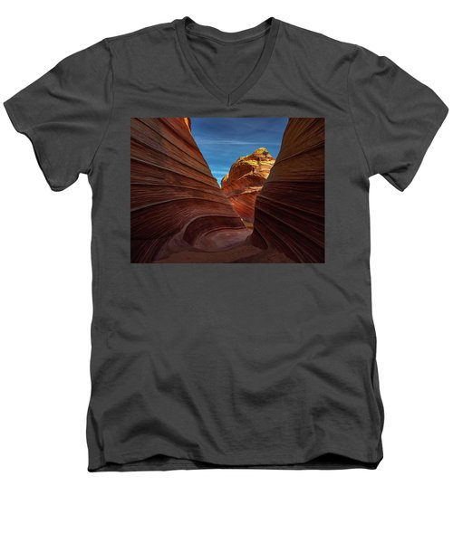 Men's V-Neck T-Shirt featuring the photograph Behind The Wave by Edgars Erglis