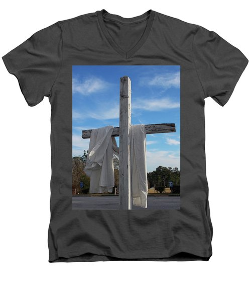 Behold, He Is Coming With The Clouds, Men's V-Neck T-Shirt