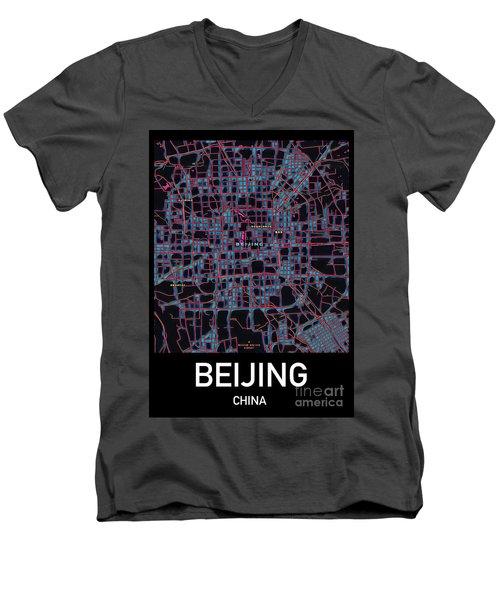 Beijing City Map Men's V-Neck T-Shirt