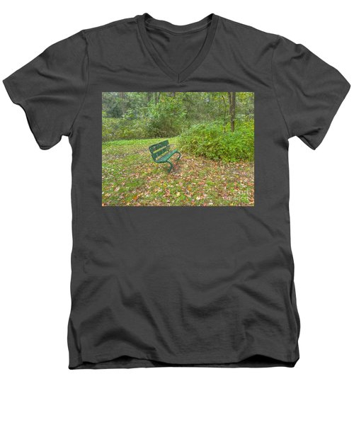 Bench Overlooking Pine Quarry Men's V-Neck T-Shirt