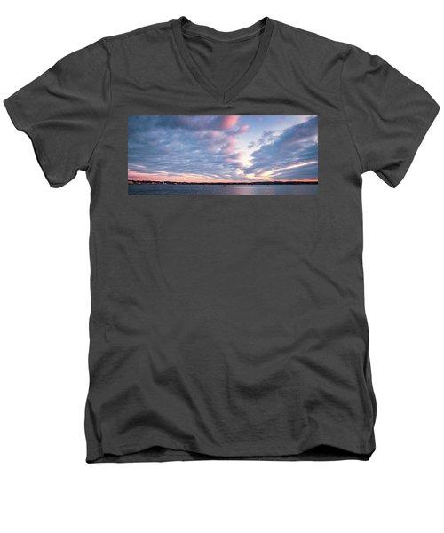 Big Sky Over Portsmouth Light. Men's V-Neck T-Shirt