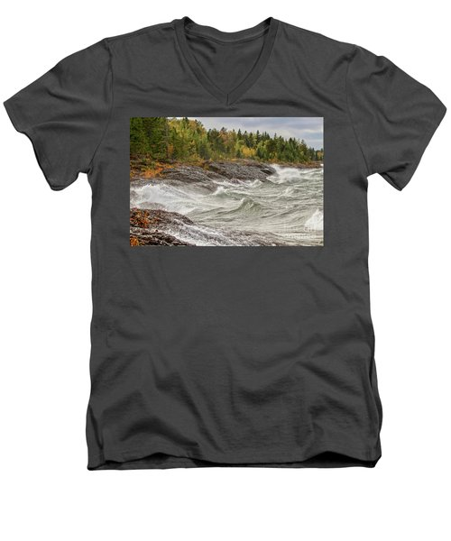 Big Waves In Autumn Men's V-Neck T-Shirt