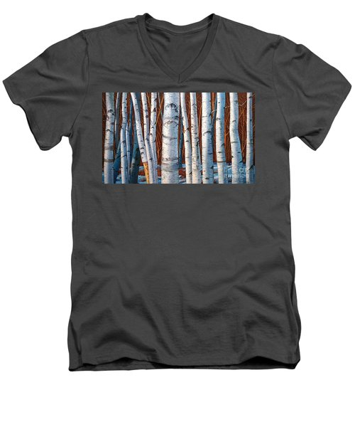 Birch Trees In Early Winter In Painting Men's V-Neck T-Shirt