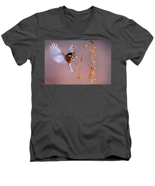 Bird Eating On The Fly Men's V-Neck T-Shirt