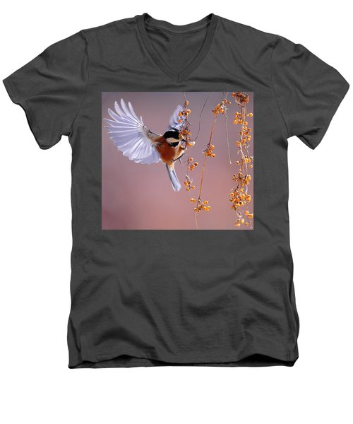 Bird Eating On The Fly Men's V-Neck T-Shirt