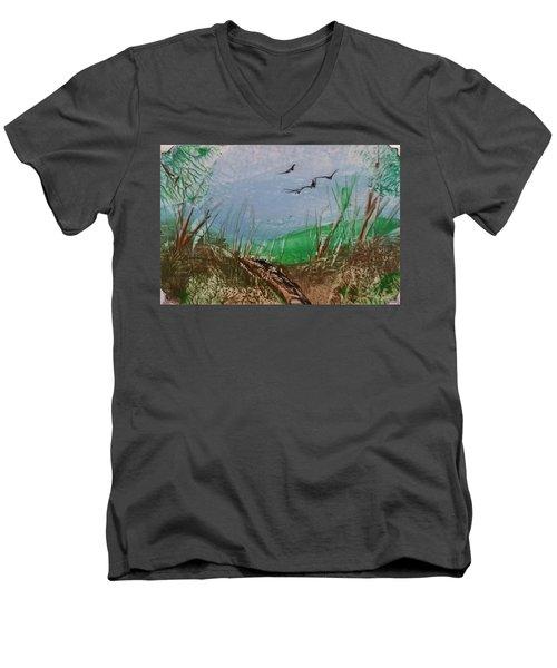 Birds Over Grassland Men's V-Neck T-Shirt