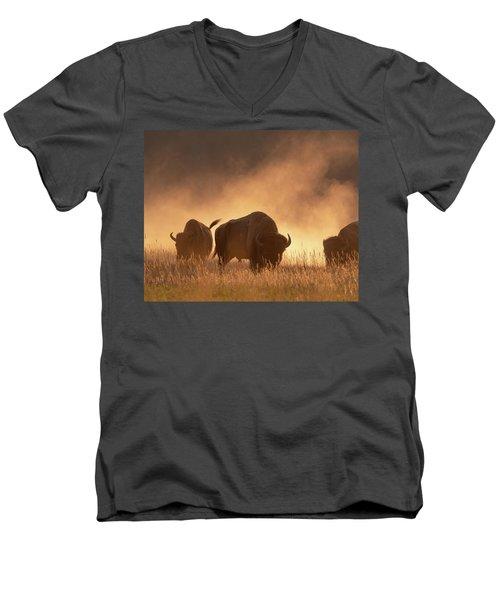 Bison In The Dust Men's V-Neck T-Shirt