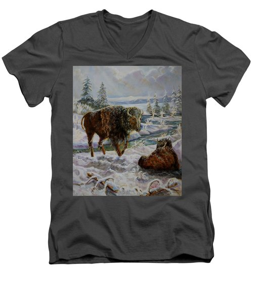 Bison In Yellowstone In The Winter Men's V-Neck T-Shirt