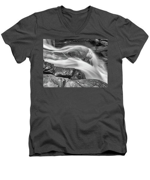 Black And White Rushing Water Men's V-Neck T-Shirt