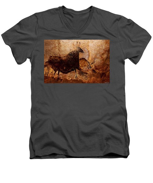 Black Cow And Horses Men's V-Neck T-Shirt