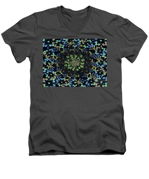 Men's V-Neck T-Shirt featuring the photograph Black Russian Flora by Rockin Docks