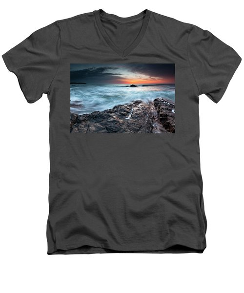 Black Sea Rocks Men's V-Neck T-Shirt