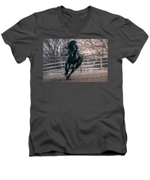 Black Stallion Cantering Men's V-Neck T-Shirt