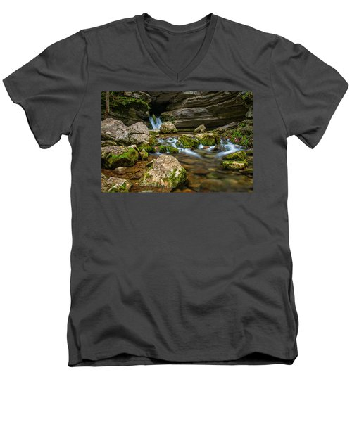 Men's V-Neck T-Shirt featuring the photograph Blanchard Springs Headwater by Andy Crawford
