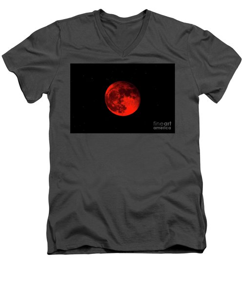 Men's V-Neck T-Shirt featuring the photograph Blood Red Wolf Supermoon Eclipse 873a by Ricardos Creations