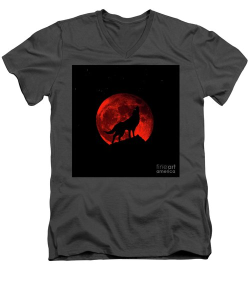 Men's V-Neck T-Shirt featuring the photograph Blood Red Wolf Supermoon Eclipse 873l by Ricardos Creations