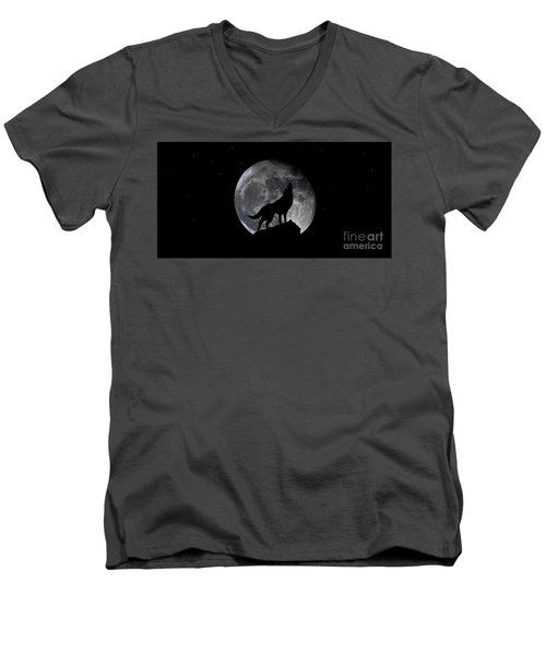 Men's V-Neck T-Shirt featuring the photograph Pre Blood Red Wolf Supermoon Eclipse 873r by Ricardos Creations