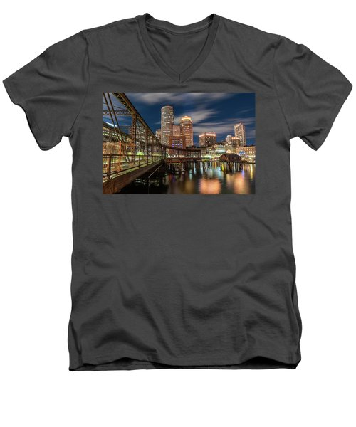 Blue Hour In Boston Harbor Men's V-Neck T-Shirt