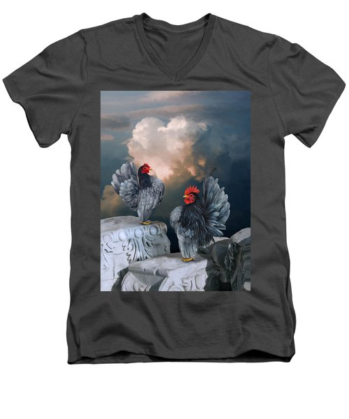 Blue Serama Pair Men's V-Neck T-Shirt