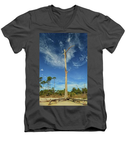 Blue Skies And Broken Branches Men's V-Neck T-Shirt