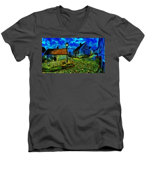 Men's V-Neck T-Shirt featuring the painting Blue Town by Harry Warrick