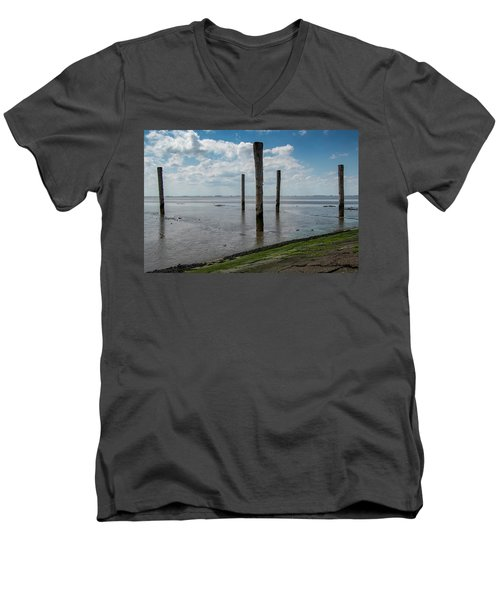 Men's V-Neck T-Shirt featuring the photograph Bohrinsel Viewing Platform by Anjo Ten Kate