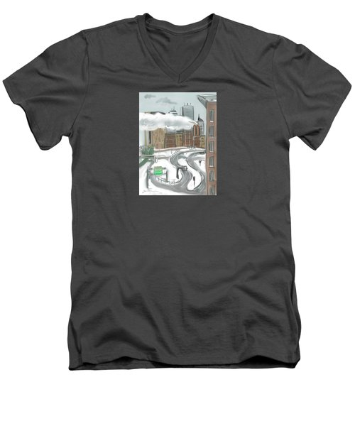 Boston After The Blizzard Men's V-Neck T-Shirt