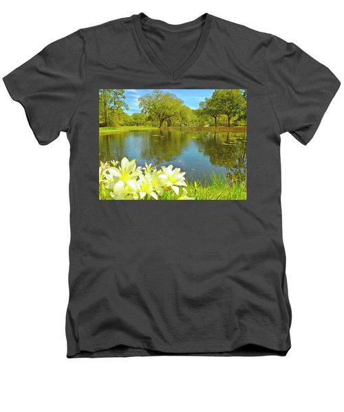 Botanical Gardens Pond Men's V-Neck T-Shirt