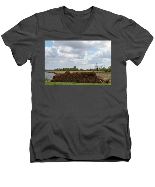 Men's V-Neck T-Shirt featuring the photograph Bound Reeds by Anjo Ten Kate